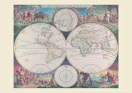 Medium Vintage Double Hemisphere World Map 1689 (Rolled Canvas - No Frame)