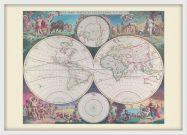 Medium Vintage Double Hemisphere World Map 1689 (Wood Frame - White)