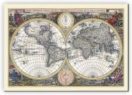 Medium Vintage Double Hemisphere World Map 1700 (Canvas)