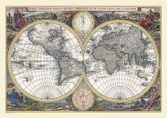 Small Vintage Double Hemisphere World Map 1700 (Rolled Canvas - No Frame)
