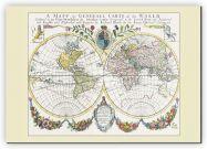 Medium Vintage French Double Hemisphere World Map c1700 (Canvas)