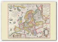 Small Vintage Gerard Mercator Europe Map 1606 (Canvas)