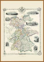 Large Vintage John Tallis Map of Germany 1851 (Pinboard & wood frame - Teak)
