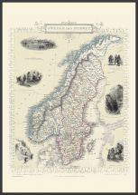 Large Vintage John Tallis Map of Sweden and Norway 1851 (Pinboard & wood frame - Black)