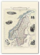 Huge Vintage John Tallis Map of Sweden and Norway 1851 (Canvas)