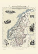 Vintage John Tallis Map of Sweden and Norway 1851