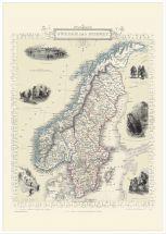 Large Vintage John Tallis Map of Sweden and Norway 1851 (Wood Frame - White)