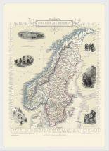 Medium Vintage John Tallis Map of Sweden and Norway 1851 (Wood Frame - White)