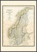 Large Vintage John Tallis Map of Sweden and Norway 1852 (Pinboard & wood frame - Black)