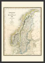 Medium Vintage John Tallis Map of Sweden and Norway 1852 (Wood Frame - Black)