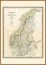 Large Vintage John Tallis Map of Sweden and Norway 1852 (Pinboard & wood frame - Teak)