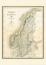 Medium Vintage John Tallis Map of Sweden and Norway 1852 (Rolled Canvas - No Frame)