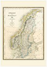 Large Vintage John Tallis Map of Sweden and Norway 1852 (Wood Frame - White)