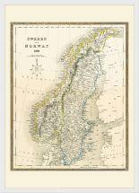 Medium Vintage John Tallis Map of Sweden and Norway 1852 (Wood Frame - White)