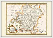 Medium Vintage Map of Franconia (Wood Frame - White)