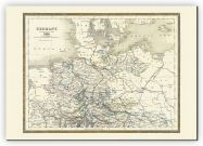 Medium Vintage Map of Northern Germany (Canvas)