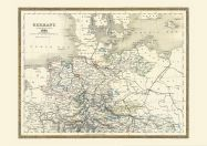 Large Vintage Map of Northern Germany (Rolled Canvas - No Frame)
