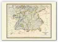 Medium Vintage Map of Southern Germany (Canvas)
