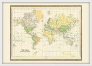 Small Vintage Mercators Projection World Map 1858 (Wood Frame - White)
