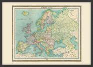 Medium Vintage Political Europe Map 1922 (Pinboard & wood frame - Black)