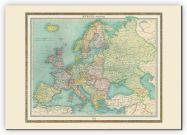 Huge Vintage Political Europe Map 1922 (Canvas)