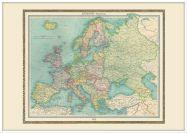 Large Vintage Political Europe Map 1922 (Wood Frame - White)