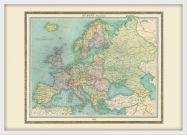 Medium Vintage Political Europe Map 1922 (Pinboard & wood frame - White)