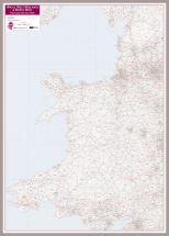 Wales, West Midlands and North West Postcode District Map (Pinboard & framed - Silver)