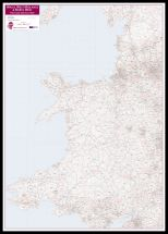Wales, West Midlands and North West Postcode District Map (Pinboard & framed - Black)