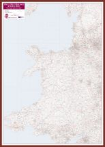 Wales, West Midlands and North West Postcode District Map (Pinboard & framed - Dark Oak)