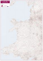Wales, West Midlands and North West Postcode District Map (Paper)