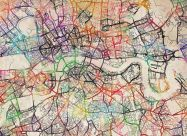 Large Watercolour Map of London (Rolled Canvas - No Frame)