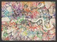 Medium Watercolour Map of London (Pinboard & wood frame - Black)