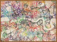 Large Watercolour Map of London (Pinboard & wood frame - Teak)