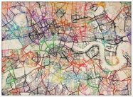 Large Watercolour Map of London (Pinboard & wood frame - White)