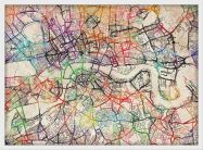 Small Watercolour Map of London (Pinboard & wood frame - White)