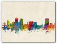 Large Wichita Kansas Watercolour Skyline (Canvas)