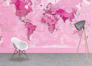 Pink World Map Wallpaper