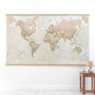 Huge Antique World Map (Wooden hanging bars)
