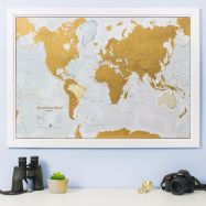 Scratch the World® map print (Pinboard & wood frame - White)