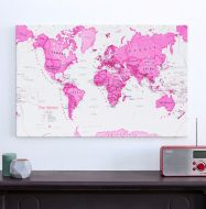 Medium Children's Art Map of the World Pink (Canvas)