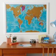 Scratch the World® - Watercolour Edition Map (Pinboard & wood frame - White)