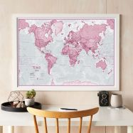 Medium The World Is Art - Wall Map Pink (Wood Frame - White)
