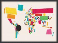 Medium World Map Abstract  (Wood Frame - Black)