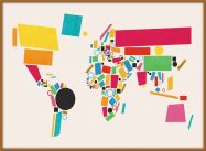 Large World Map Abstract  (Pinboard & wood frame - Teak)