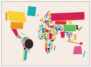Large World Map Abstract  (Wood Frame - White)