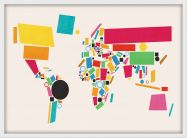 Small World Map Abstract  (Wood Frame - White)