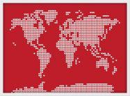Medium World Map Love Hearts (Wood Frame - White)
