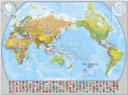 Huge World Pacific-centred Wall Map with flags (Pinboard)