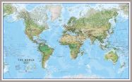 Huge World Wall Map Environmental (Pinboard & framed - Silver)